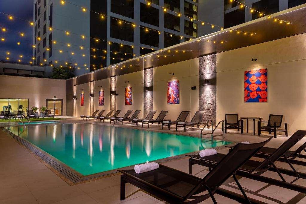 Hilton Austin Pool Fairy Lights