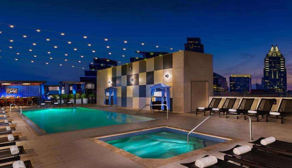 Hilton Austin pool night