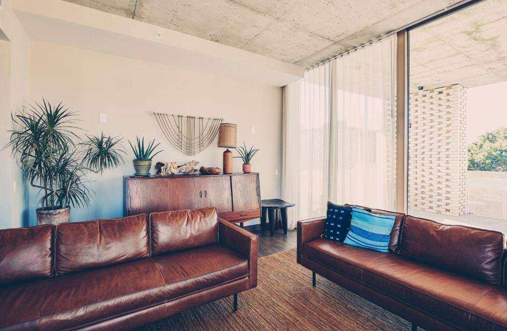 South Congress Hotel leather sofa