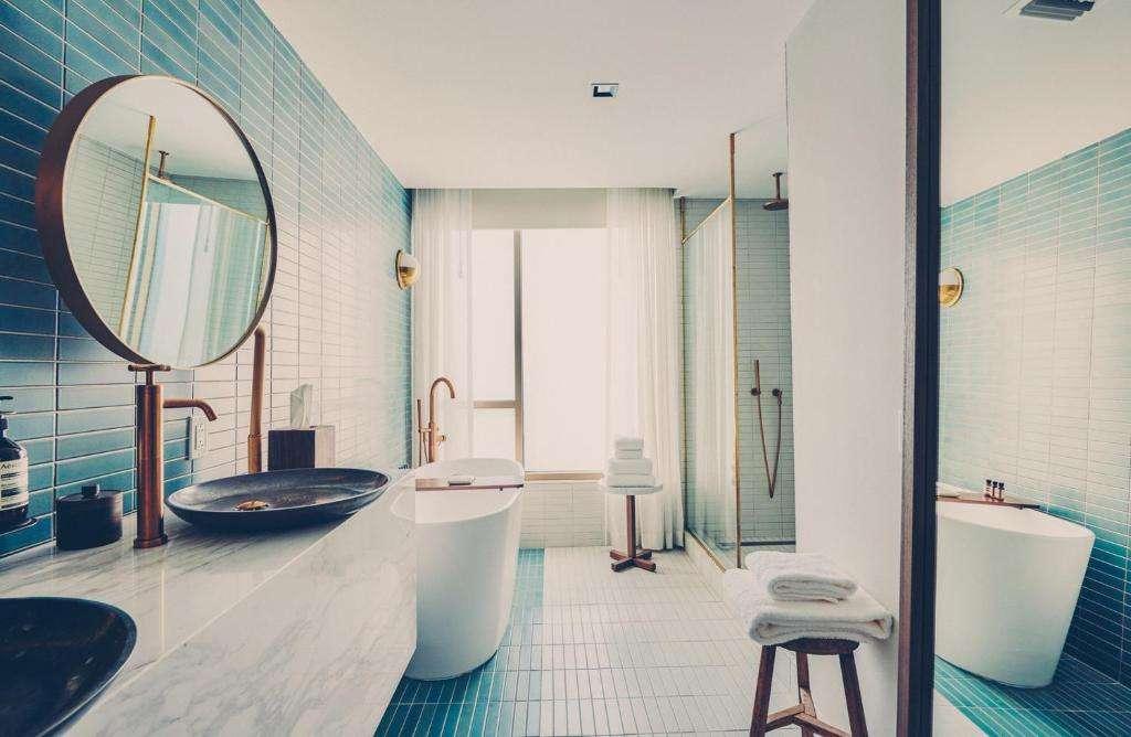 South Congress Hotel stylish bathroom