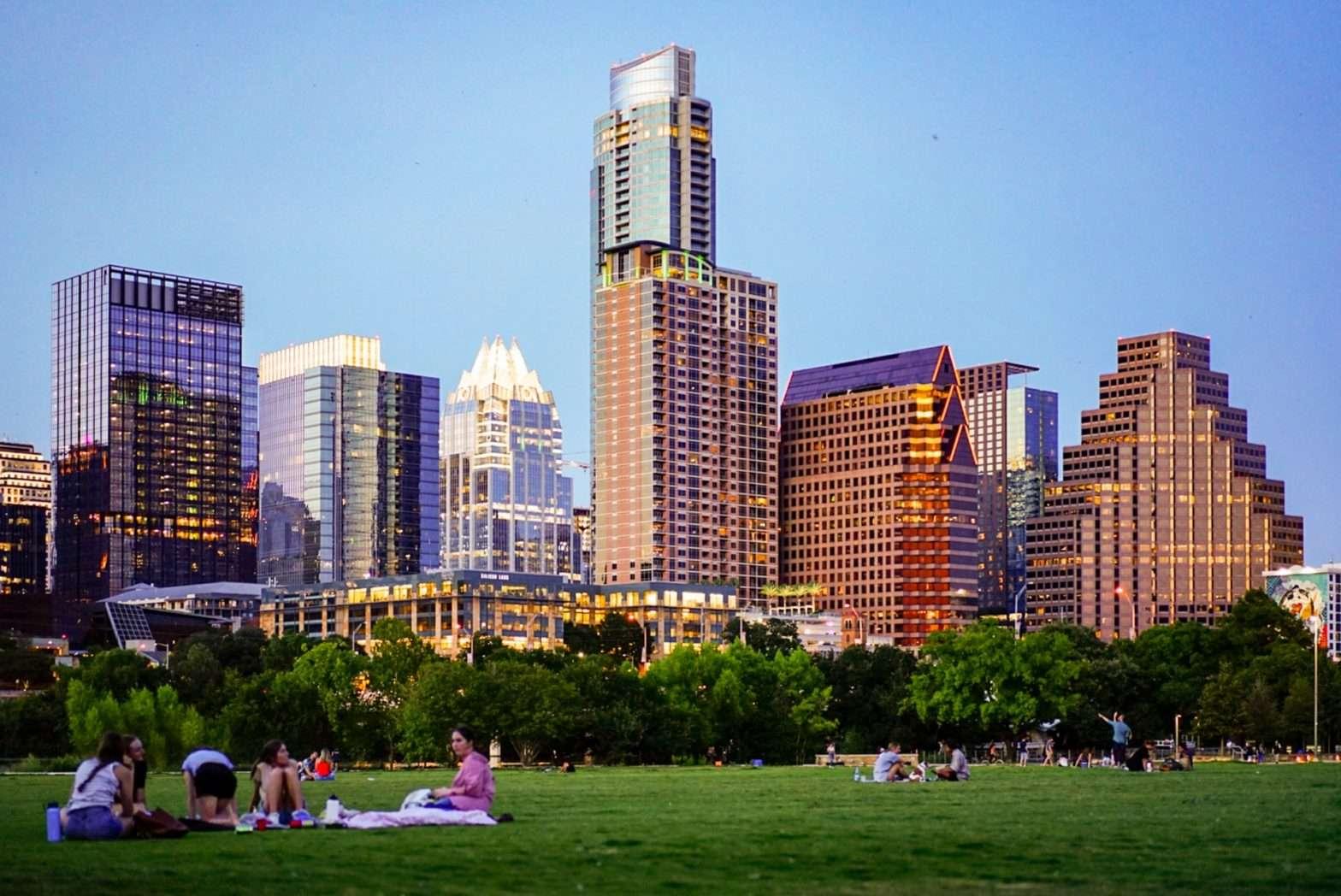 Austin City Skyline from the park