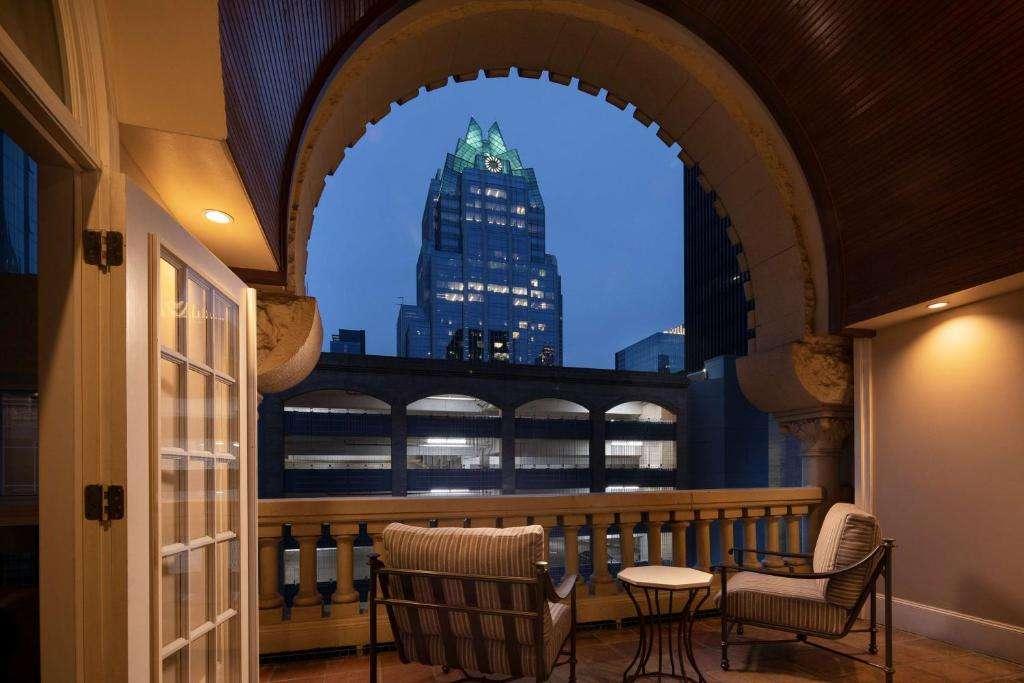 The Driskill Hotel romantic balcony at night